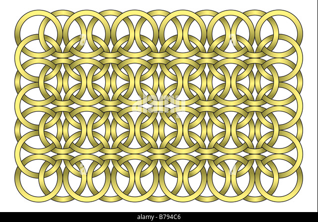 Decorative golden chain link illustration isolated on white - Stock Image