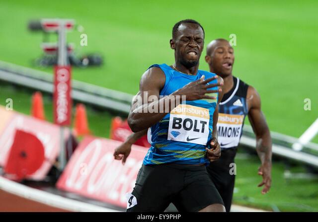 London, UK. 24th July, 2015. Usain BOLT, Men's 100m final, Diamond League Sainsbury's Anniversary Games, - Stock-Bilder
