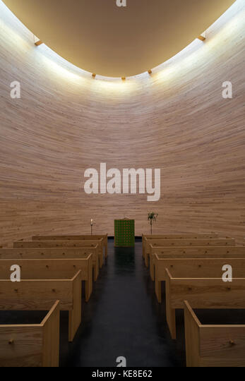 Helsinki, Finland. The Kamppi Chapel - a Lutheran chapel in Narinkka Square. It is also known as the Chapel of Silence - Stock Image