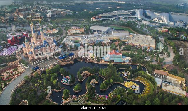Shanghai. 15th June, 2016. The aerial photo taken on June 15, 2016 shows the Shanghai Disney Resort in Shanghai, - Stock Image