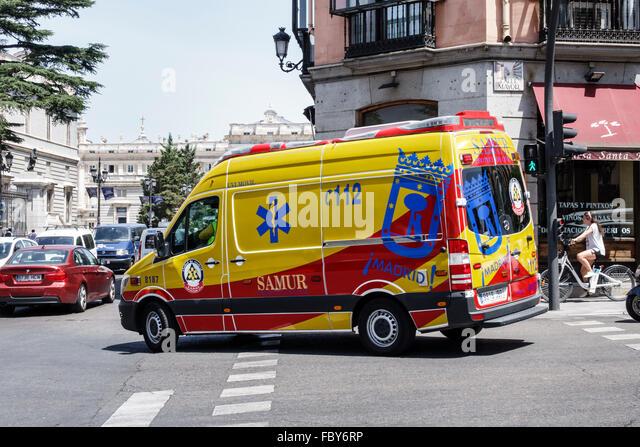 Madrid Spain Europe Spanish Hispanic Centro Calle Bailen ambulance emergency vehicle van - Stock Image