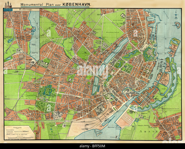 The old plan of Copenhagen - capitals of Denmark - Stock Image
