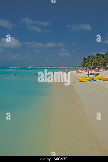 Aruba Palm Beach tourist attraction vacations open space copy space text space type space - Stock Image