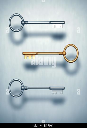 three keys the road to success 3 Schluessel einer golden Schluessel zum Erfolg - Stock Image