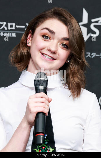 Tokyo, Japan. 19th April, 2016. British actress Maisie Williams (19) speaks during a promotional event for the TV - Stock Image