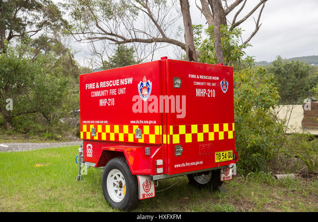 Rural New South Wales community fire fighting equipment unit located in Blue Mountains area,new south wales,australia - Stock Image