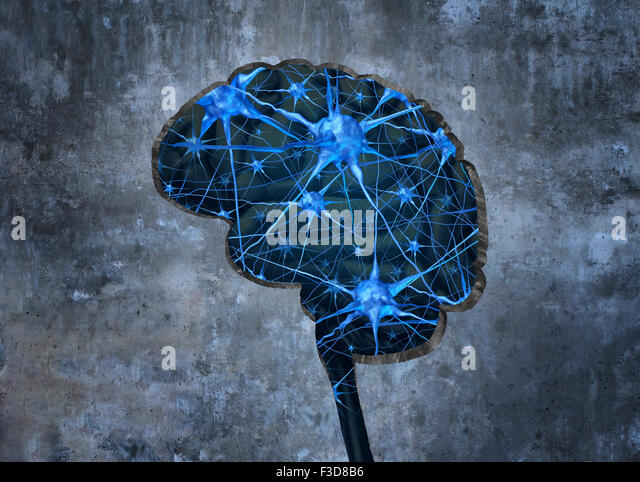 Inside human neurology research concept examining the mind of a human to heal memory loss or cells due to dementia - Stock-Bilder