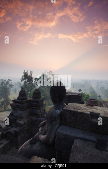 Borobudur Temple at sunrise, UNESCO World Heritage Site, Java, Indonesia, Southeast Asia, Asia - Stock Image
