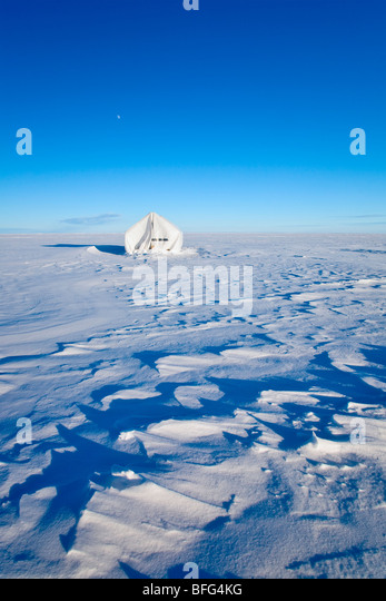 Ice Fishing Tent on Lake Winnipeg near town of Gimli Manitoba Canada.  Lake Winnipeg is world's 11th largest - Stock Image