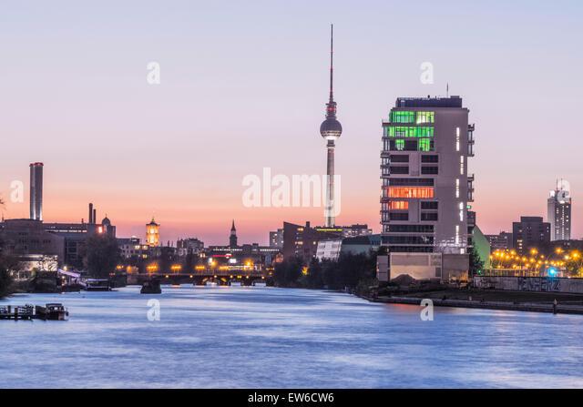Skyline Berlin, River Spree, Media Spree, Skycraper Living Levels, Mercedes, Berlin - Stock Image