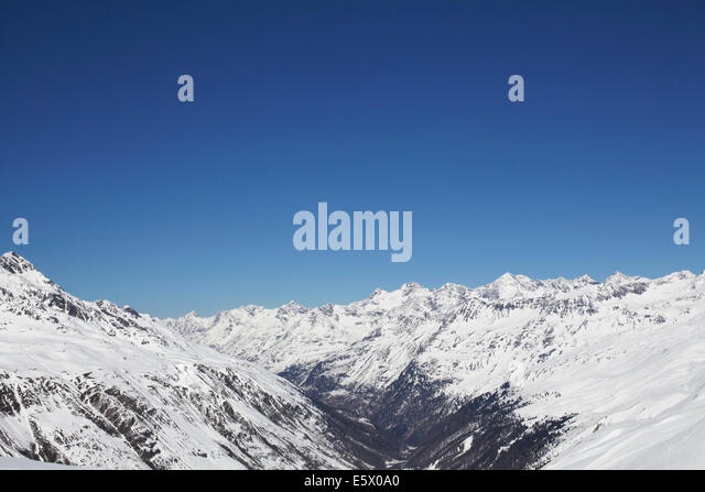 View of snow covered mountain range, Austria - Stock Image