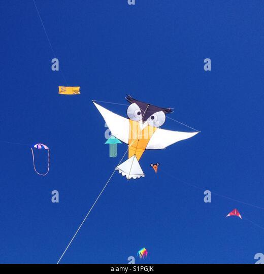 Volovent  Festival, kite in flight, Palavas Les Flots France - Stock Image