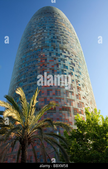 The Torre Agbar modern office building Barcelona Spain - Stock Image