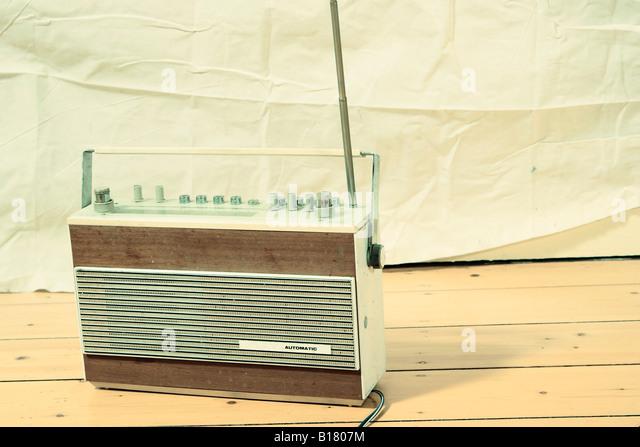 Radio on wooden floor - Stock-Bilder