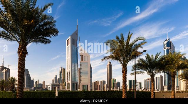 Skyscrapers of the Emirates Towers, Dubai, UAE - Stock Image