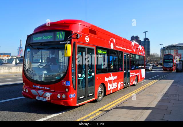 London Hydrogen bus on route RV1 crossing Waterloo Bridge - Stock Image