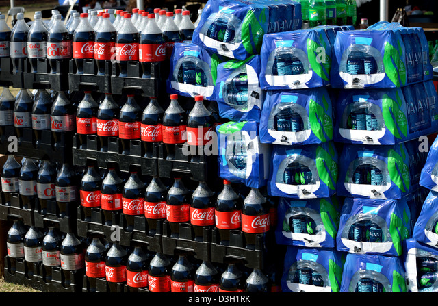 Soft drinks & bottled water - Stock Image