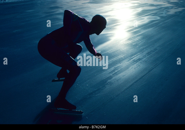 Male speed skater in action at the start - Stock Image
