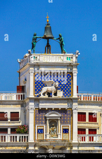 Italy, Europe, travel, Venice, San Marco, Square, Clock Tower, bell, clock, history, lion, symbol, - Stock-Bilder