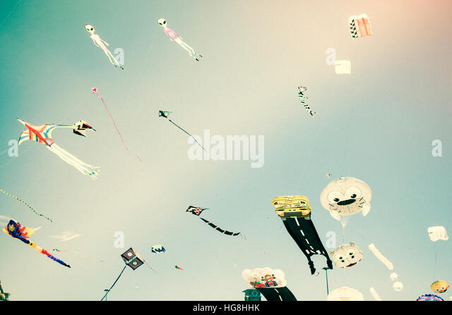 Kites flying in the sky - Stock Image