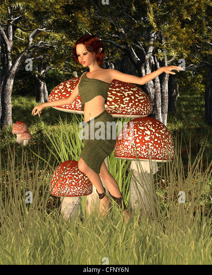 Forest Pixie in the Woods - Stock Image