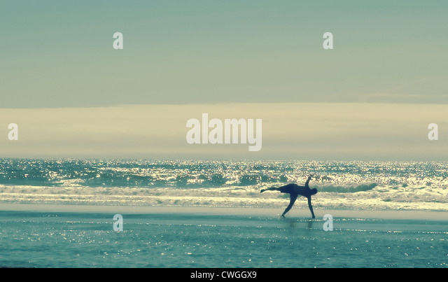 Vintage Beach Cartwheel - Stock Image