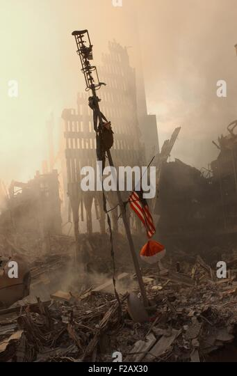 The airplane alert antenna sits amidst the rubble of the World Trade Center, Sept 13, 2001. This was one of the - Stock-Bilder