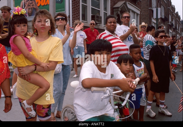 New Jersey Hackensack residents crowd watch parade Hispanic Black - Stock Image