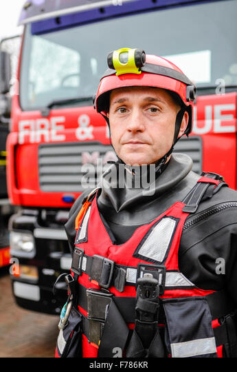 Northern Ireland. 26th November, 2015. An officer from the Northern Ireland Fire and Rescue Service Enhanced Capability - Stock Image