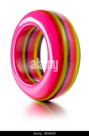 striped bright colored bangle - Stock Image