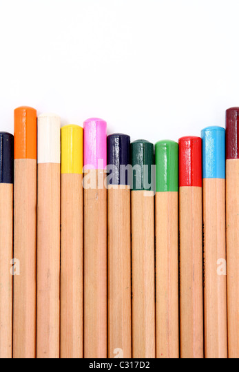 Colour pencils isolated on white background close up . - Stock-Bilder