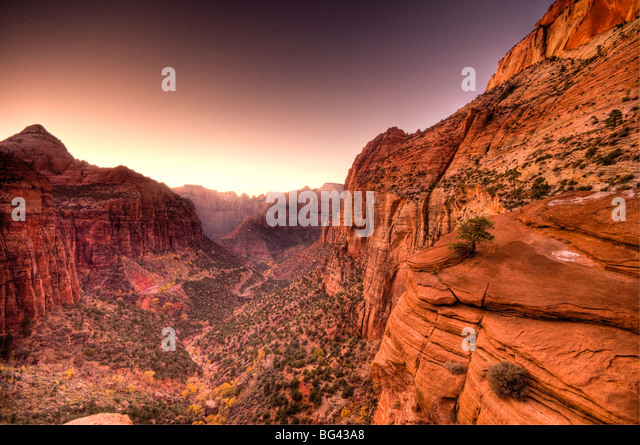 USA, Utah, Zion National Park, from Canyon Overlook - Stock-Bilder