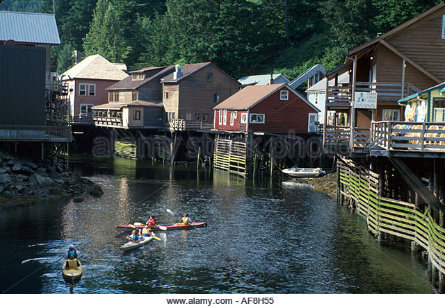 Alaska Ketchikan historic Creek Street District kayaks - Stock Image