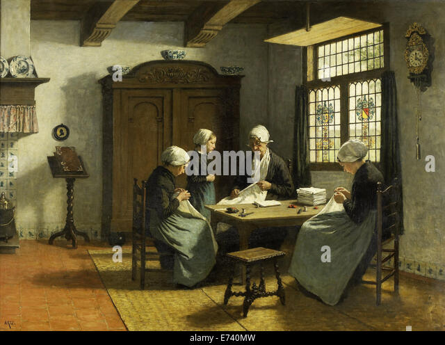 In the orphanage Katwijk-Binnen - by David Adolph Constant Artz, 1870 - 1890 - Stock Image