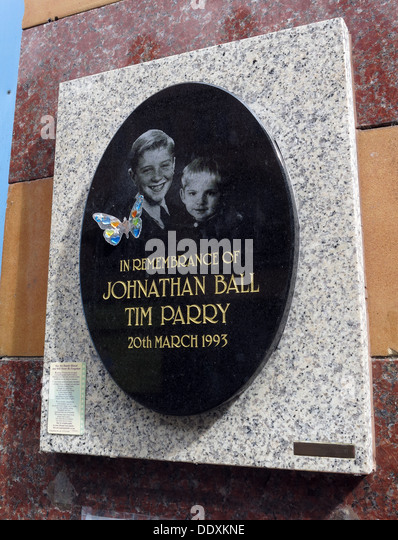 Memorial to Jonathon Ball and Tim Parry, victims of IRA bomb in Warrington 20/03/1993, Cheshire,UK (Replacement - Stock Image
