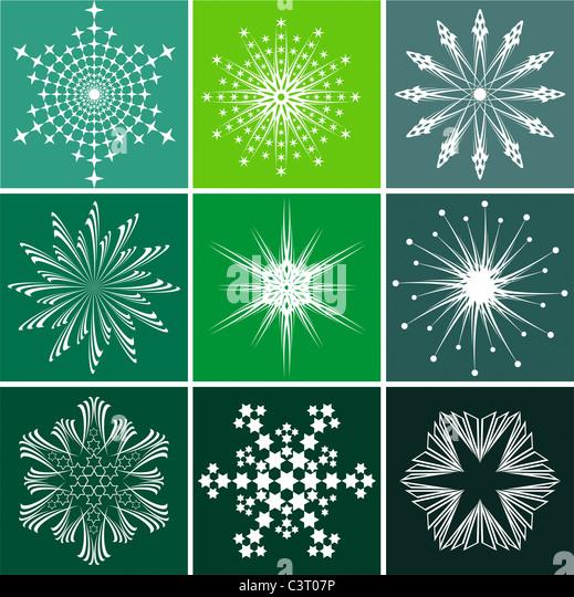 Snowflakes vector set - Stock Image