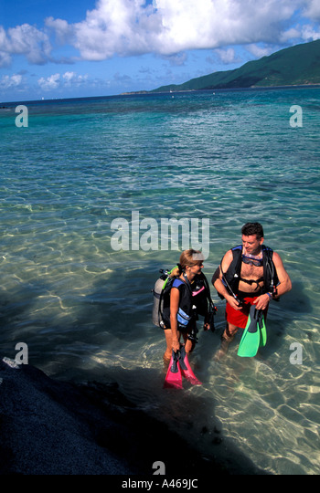 British Virgin Islands scuba  divers - Stock Image