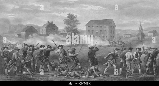 Vintage Revolutionary War print of American minutemen being fired upon by British troops at Lexington, Massachusetts. - Stock Image