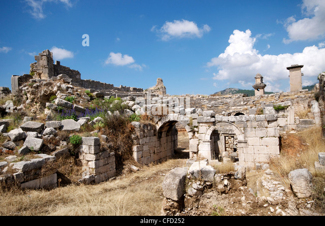 Amphitheatre Ancient Lycian Ruins Stock Photos ...