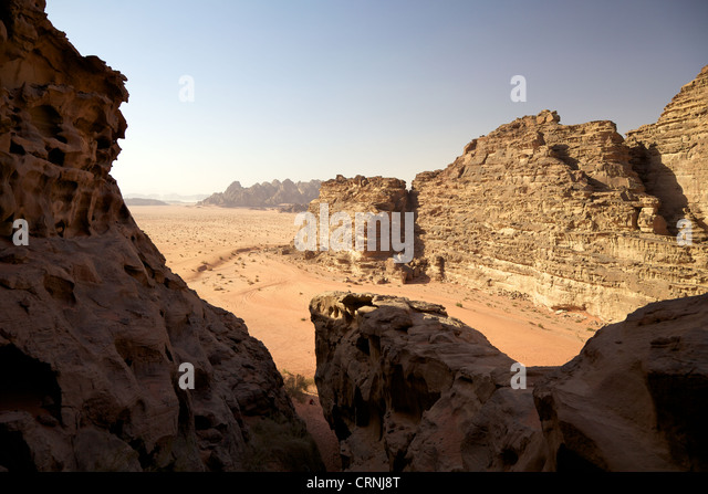 The desert of Wadi Rum in Jordan - Stock Image