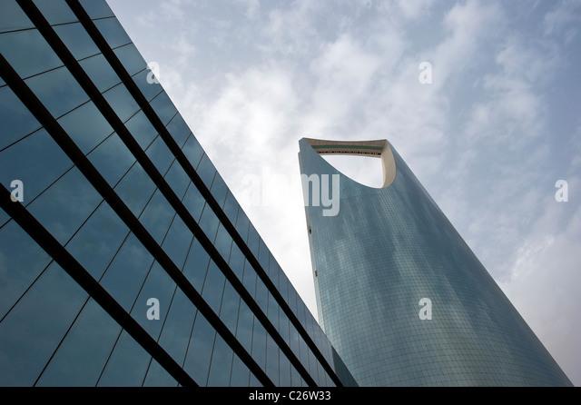 Kingdom Tower in Riyadh Saudi Arabia - Stock Image