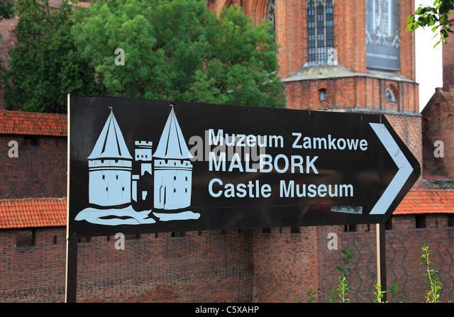 Sign of Malbork Marienburg Castle of Teutonic Knights, Poland - Stock Image