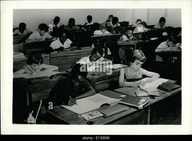 Feb. 25, 2012 - Belgian Congo -- Elementary Classes at the Athene Royal at Leopoldoille. ne - Stock-Bilder