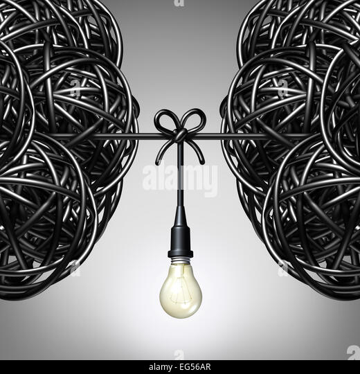 Team ideas and collaboration concept as two groups of tangled electric cord or wire with a light bulb connection - Stock-Bilder