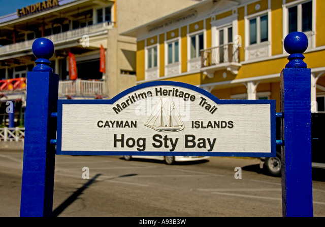 George Town Grand Cayman Hog Sty Bay sign - Stock Image