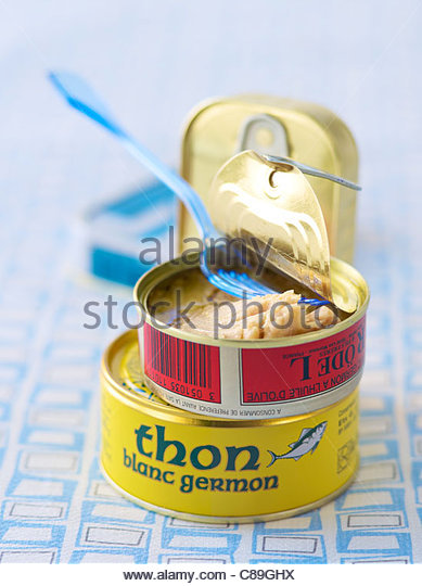 Open can of tuna - Stock Image
