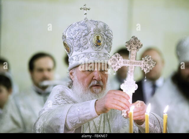 Moscow, Russia. 18th Jan, 2016. Patriarch Kirill of Moscow conducts the service of the Great Blessing of Waters - Stock Image