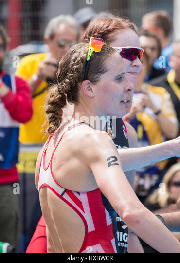 British triathletes Jessica Learmonth (nearest) and Lucy Hall. - Stock Image