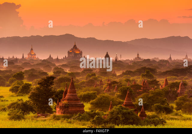 Bagan, Myanmar archeological zone. - Stock Image