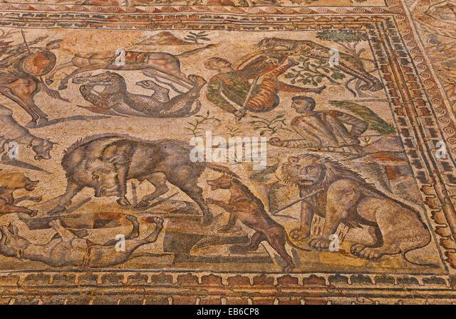 Roman Town of La Olmeda  IV century D C  The Room Oecus decorated with mosaics that depict the legend of Ullysees - Stock Image